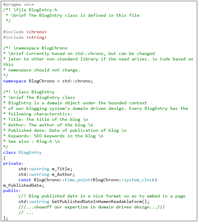 BlogEntry.h - Doxygen example (how to write comments)