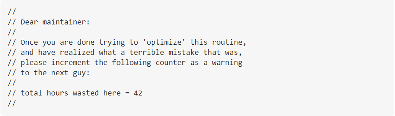 Heads Up To Code Maintainers (an indication that code must be refactored)